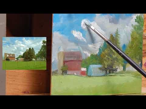 TomFisherArt 90 oil painting Farm Barn Homestead Landscape Instruction