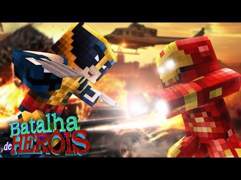 Minecraft : IRON MAN vs WOLVERINE - BATALHA DE HERÓI
