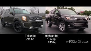 Kia Telluride 2019 vs Toyota Highlander 2019  HD. Comparison