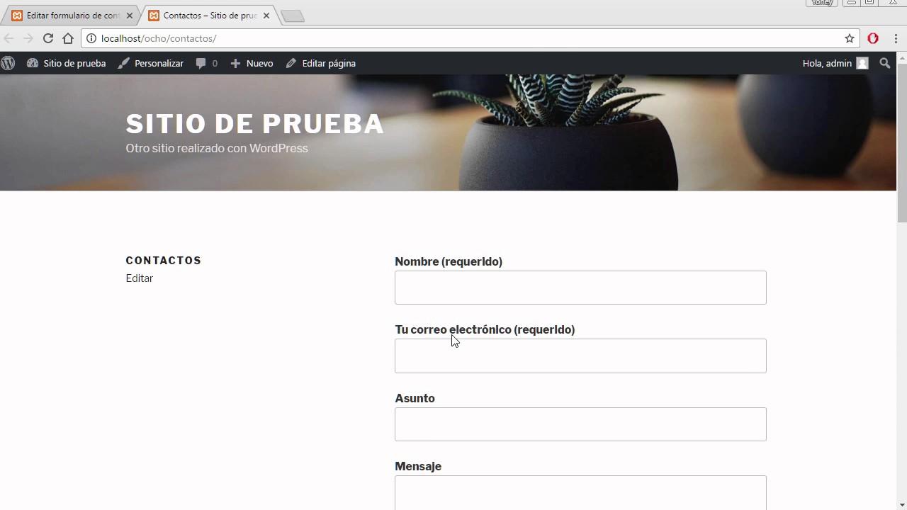 c080d0308d Formulario de Contacto para Wordpress - YouTube