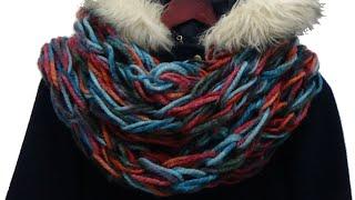 Jak zrobić modny szal komin w 30 minut /// Arm knitting