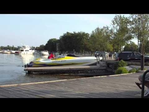 Power Boat launching into Lake Couchiching