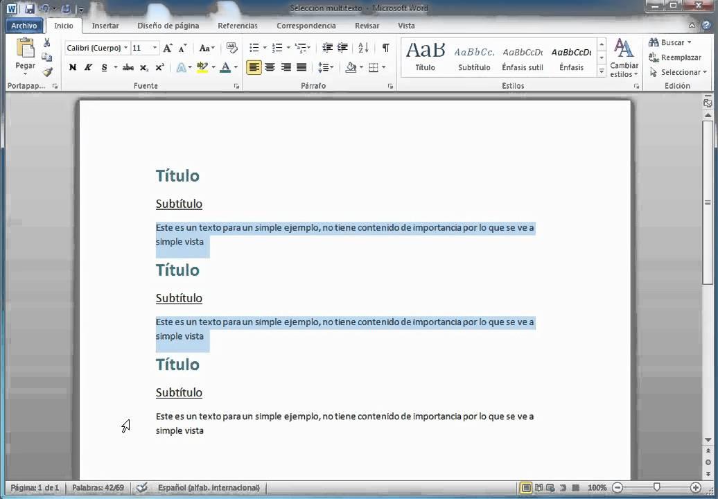 Tips Word 2010 Selección multiple - YouTube