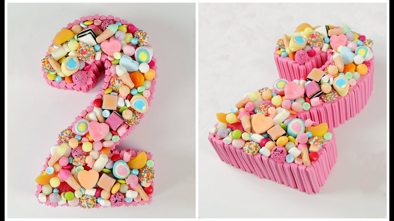 Decorate a candy number cake cake style youtube for Number 4 decorations