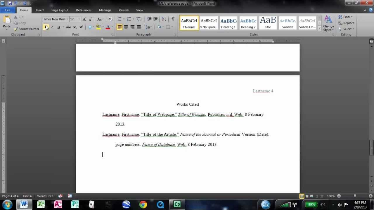 how to make an mla works cited page in word youtube