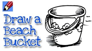 How to draw a Beach Bucket Real Easy - Spoken Tutorial - For kids and beginners