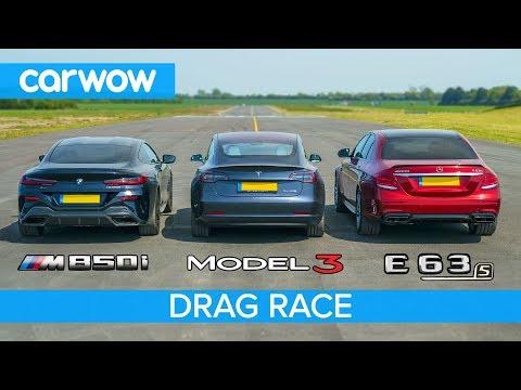 BMW M850i vs Tesla Model 3 vs Mercedes-AMG E63 S - DRAG RACE, ROLLING RACE & BRAKE TEST