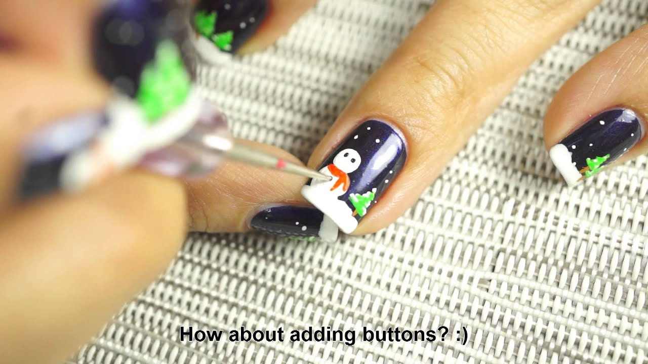 Night Before Christmas Nail Art Tutorial - YouTube