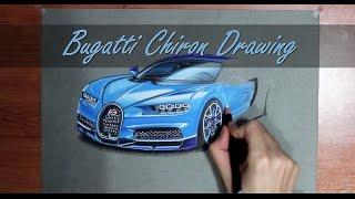 Bugatti Chiron Realistic Drawing Art by Orhan Ozvatan