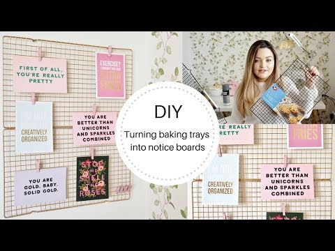DIY noticeboard made from baking tray