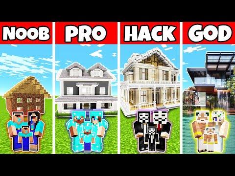 Minecraft: FAMILY MODERN MANSION BUILD CHALLENGE - NOOB Vs PRO Vs HACKER Vs GOD In Minecraft
