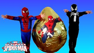 GIANT EGG SURPRISE OPENING SPIDERMAN Marvel Superhero Toys Kids Video Spiderman Vs Venom