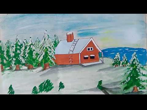 snowfall winter landscape drawing|| easy and simple for kids||
