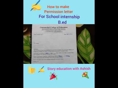Permission Letter Format For Internship. How to make Permission letter for School internship  B ed YouTube