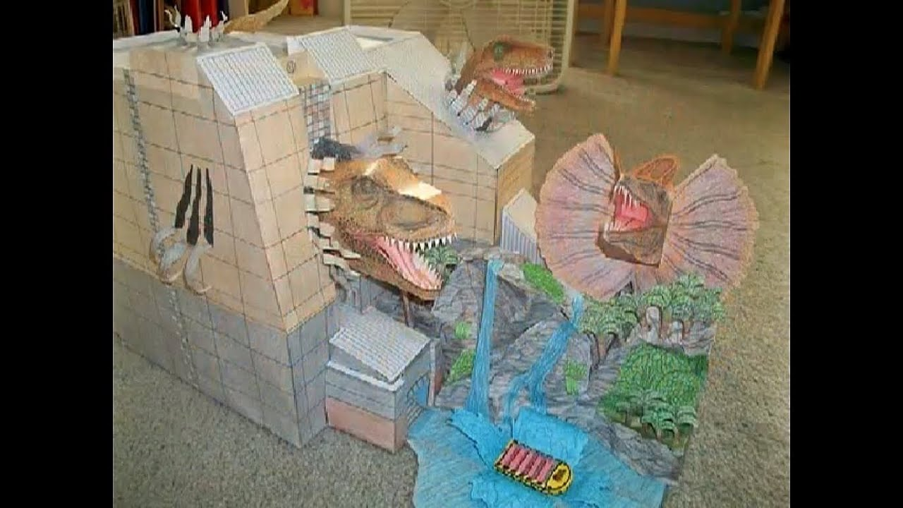Minecraft 3d Live Wallpaper Paper Model Of The Jurassic Park River Adventure