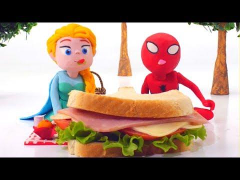 Frozen Elsa & Spiderman Eat GIANT Sandwich - Superhero Babies Play Doh Cartoons & Stop Motion Movies