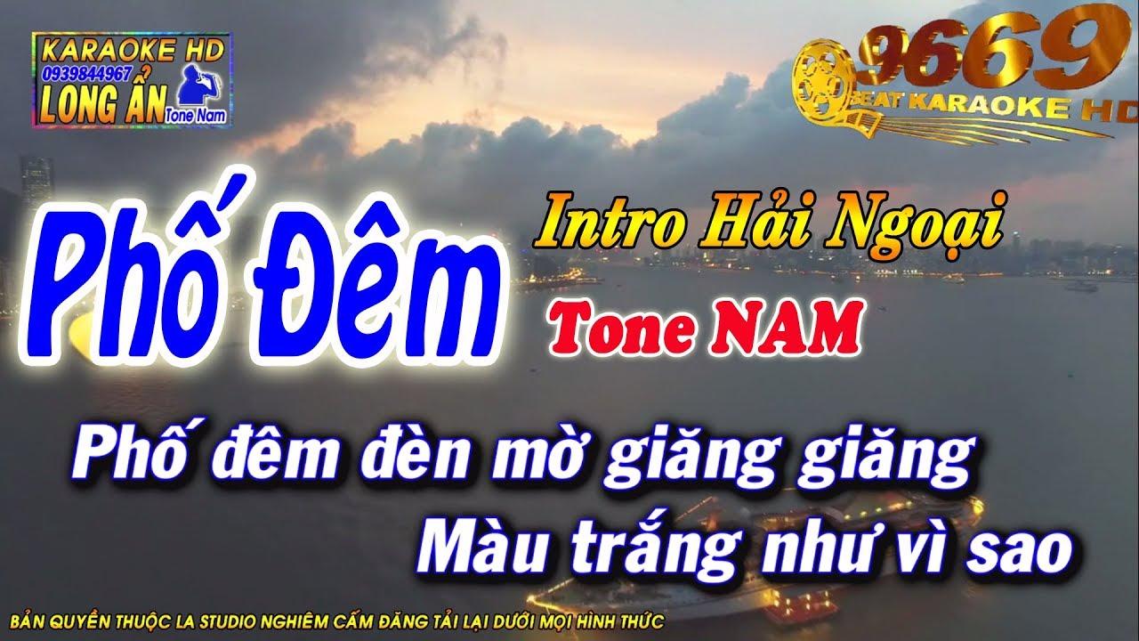 Karaoke Phố Đêm | Tone Nam beat chuẩn | Nhạc sống LA STUDIO | Karaoke 9669