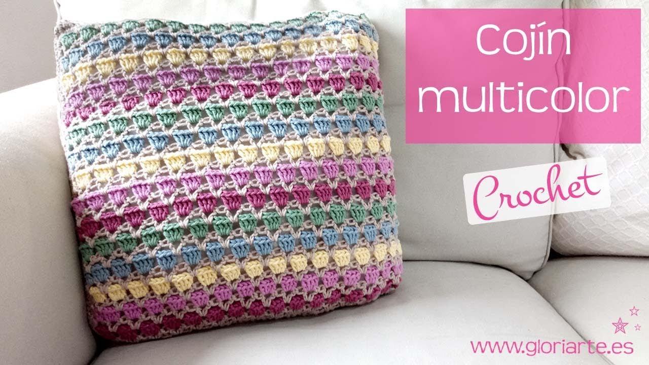 Cojín de ganchillo multicolor. Colorful crochet cushion - YouTube