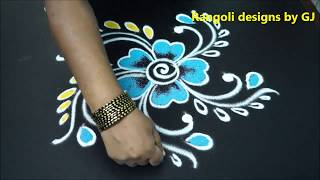 Flower Rangoli designs by GJ | Beginners Simple and easy kolam for kids| flower muggulu