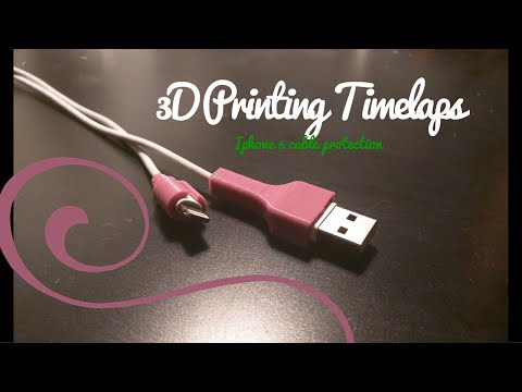 3D Printing Timelapse: Iphone 6 cable protection