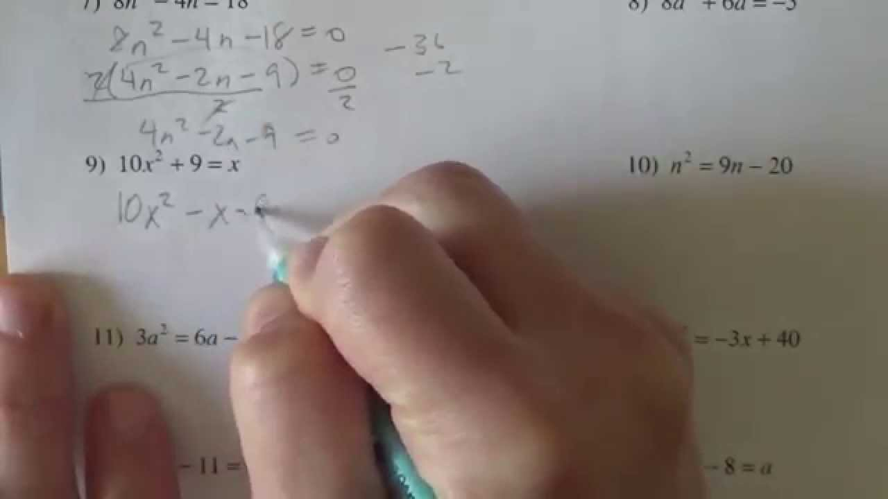 Solving Quadratic Equations Kutasoftware Youtube