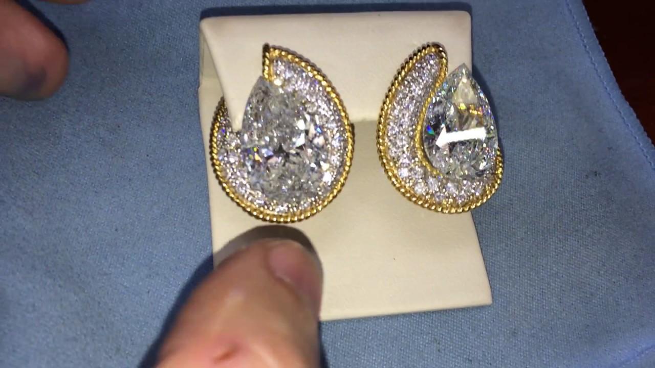 Huge Pear Shape Diamond Earrings Being Made By Mike Nekta In New York