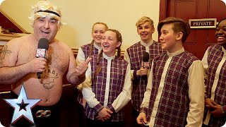 Stavros gets the backstage goss from golden buzzer act Entity Allstars | Britain's Got Talent 2015