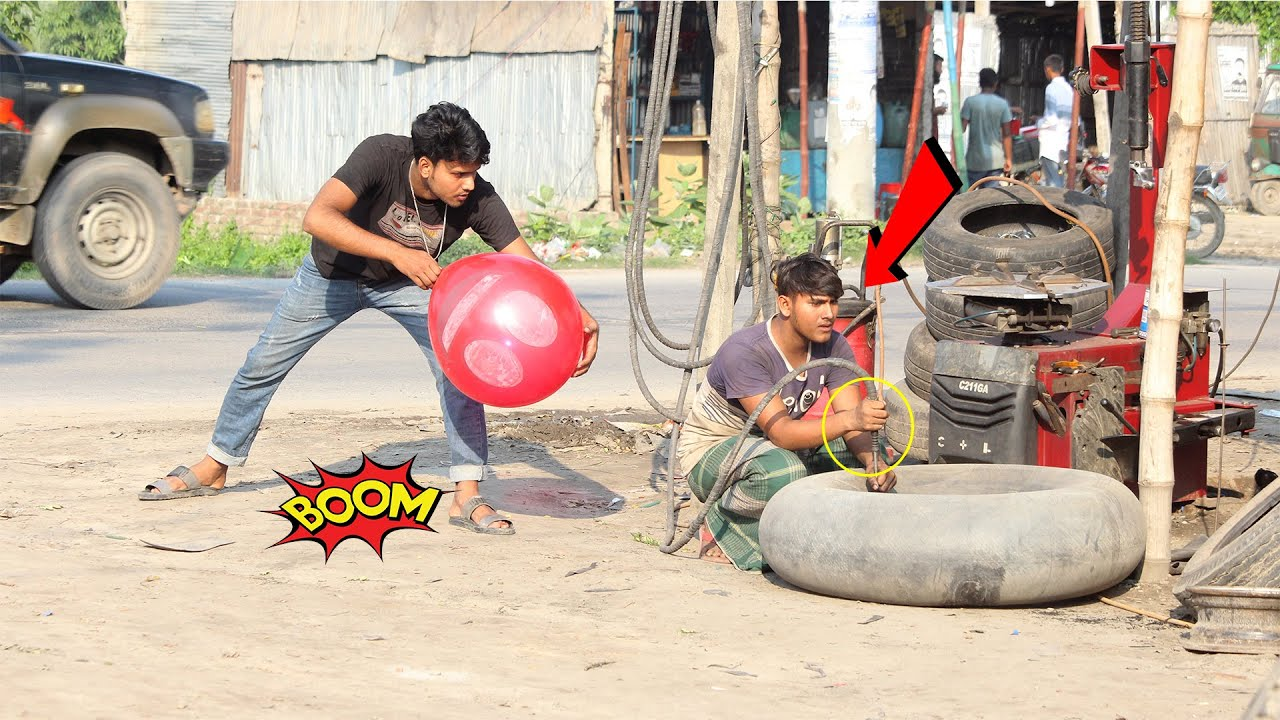 Download Tyre Blast Prank Of Big Popping Balloons !! Crazy Reaction with  Popping Balloon Prank  PART 15