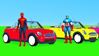 SUPERHERO CABRIOLET CARS Learn COLORS & Numbers Spiderman cartoon for kids Toddlers Animation