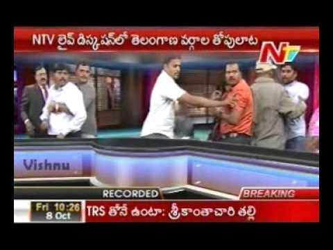 Fight in News channel Studio