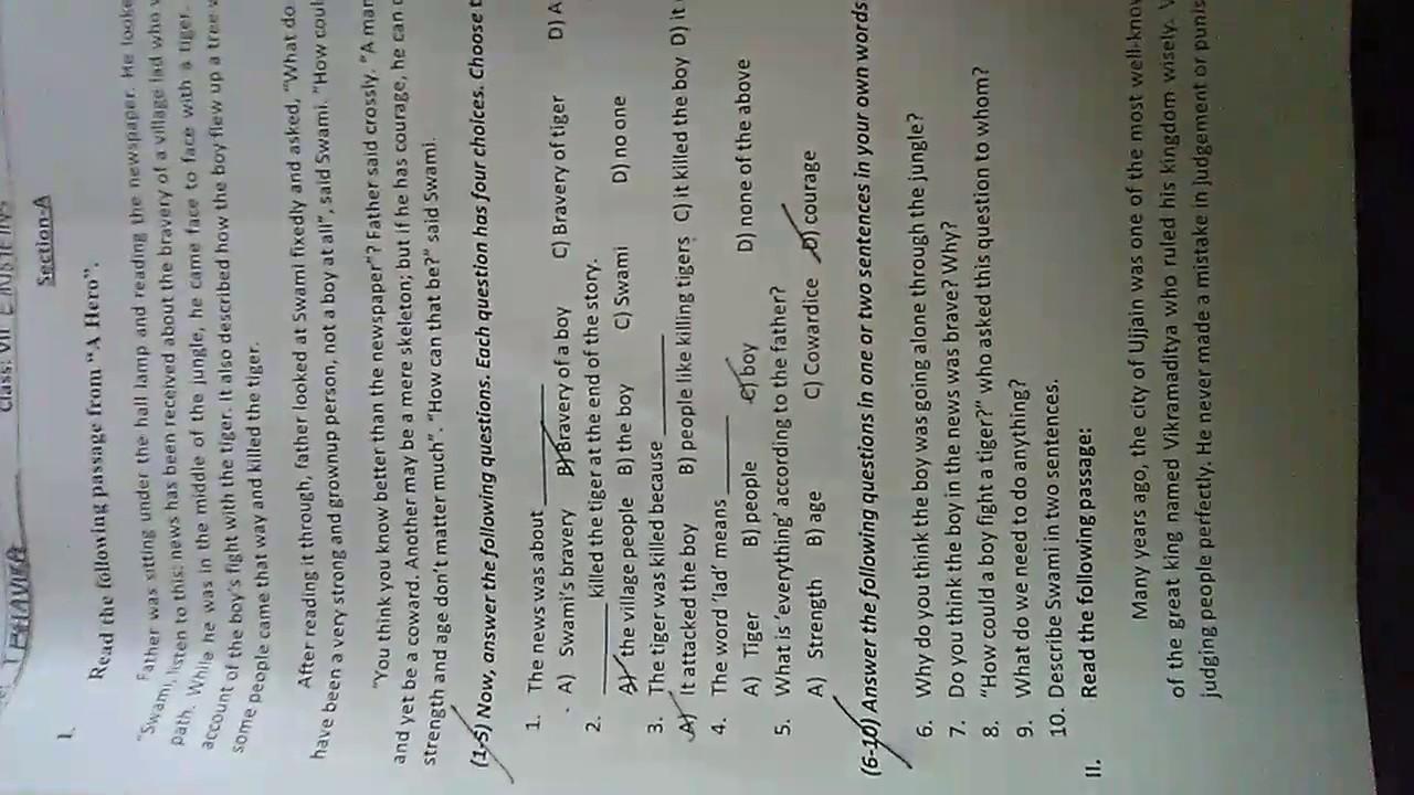 2017 english question paper sa2 8th class hd youtube