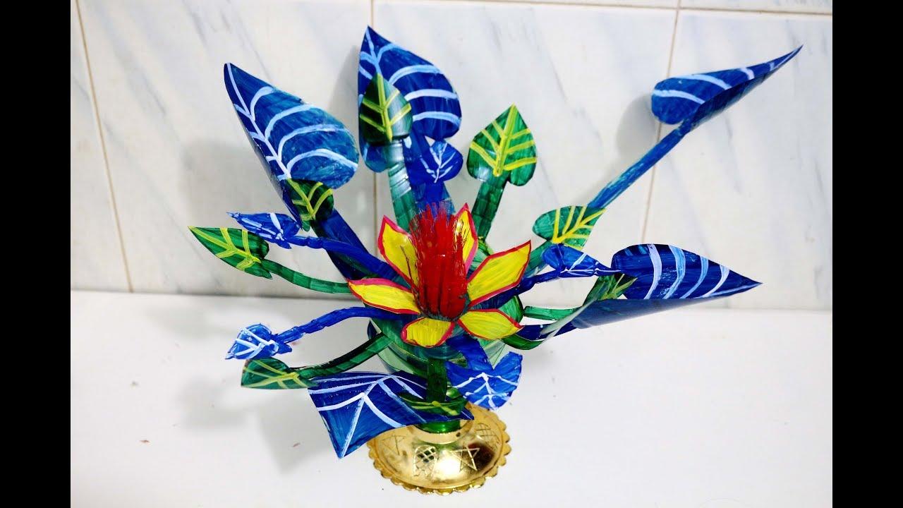 Handmade flower vase from plastic bottle how to make for Handmade flower vase with waste material