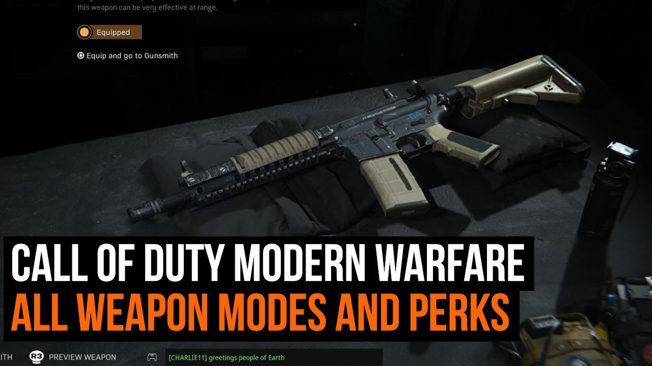 Call Of Duty Modern Warfare All Weapon Mods And Perks For The M4a1 Youtube