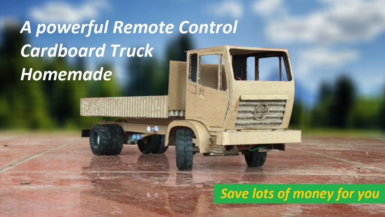 Video Remote Control homemade How to Make a Cardboard RC Heavy Truck Very Simple by yourself