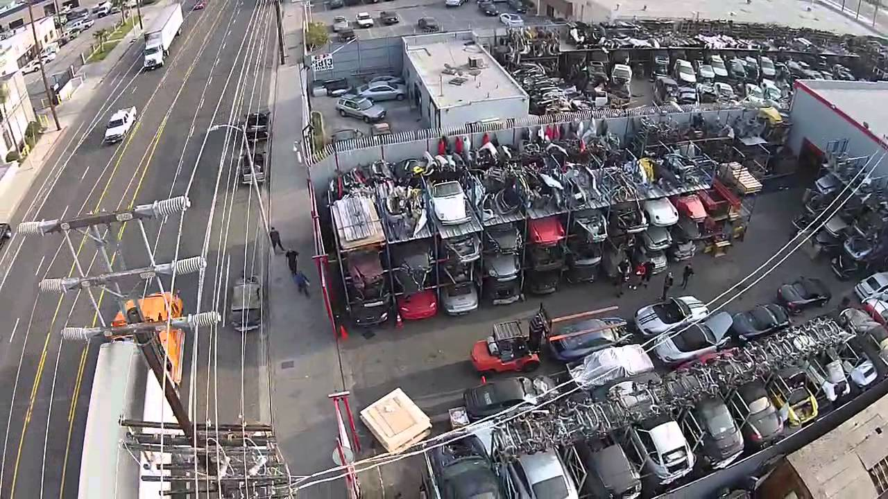 Los angeles dismantler porsche salvage yard aerial tour for Used lumber los angeles
