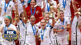 USWNT celebrate during trophy presentation