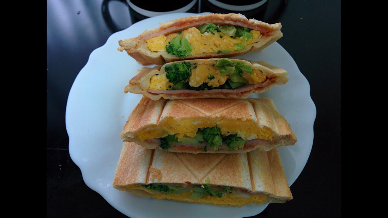 egg broccoli and ham breakfast sandwich maker recipe youtube. Black Bedroom Furniture Sets. Home Design Ideas