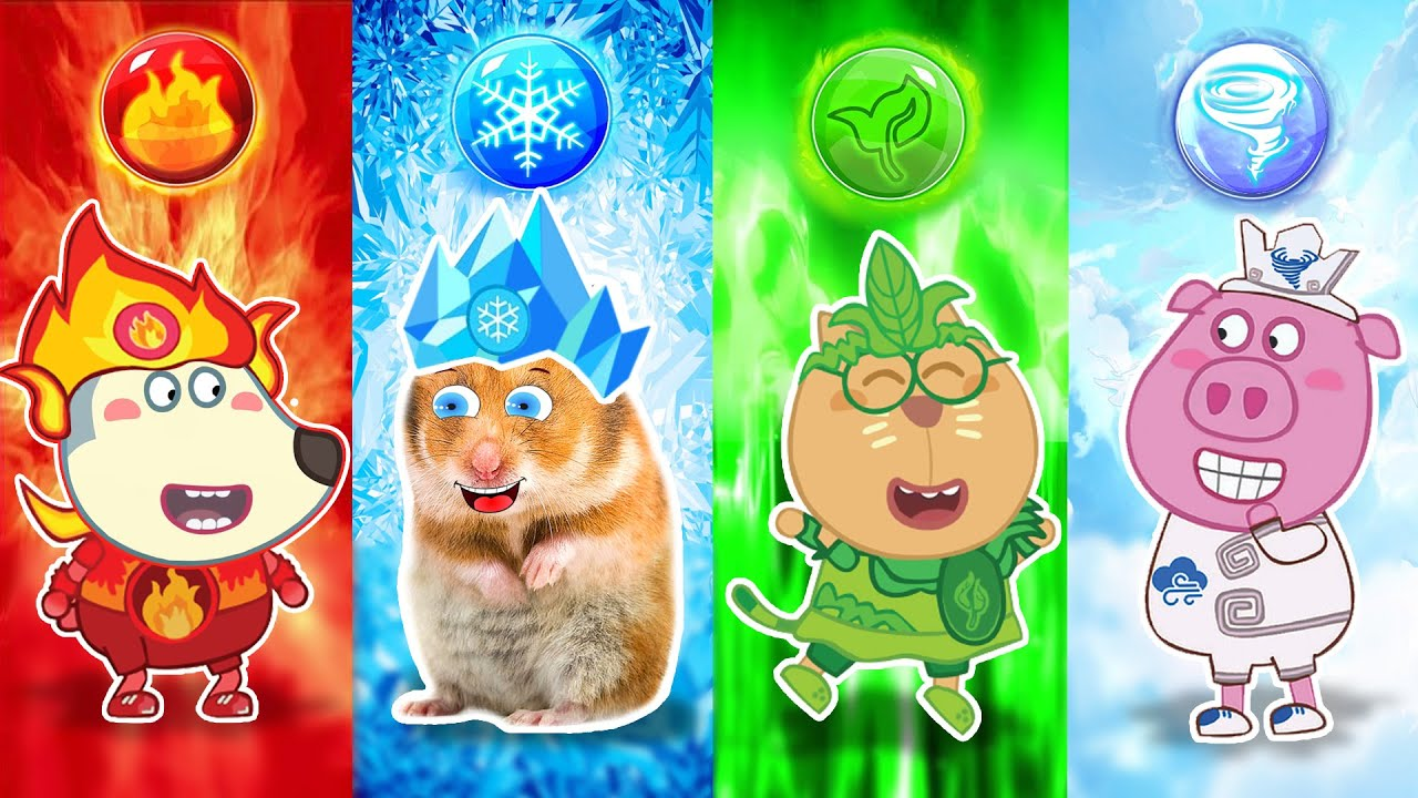 Fire, Water, Air, and Earth - Four Elements in Cartoon Hamster and Wolfoo by Life Of Pets Hamham