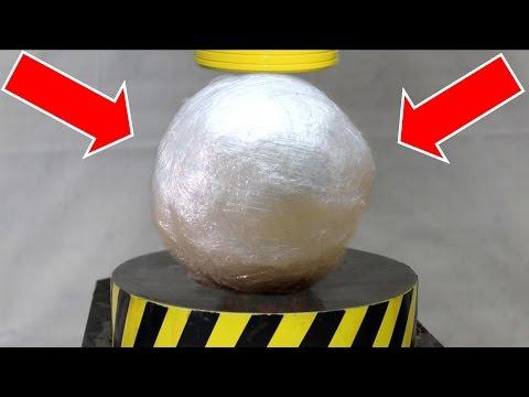 EXPERIMENT HYDRAULIC PRESS 100 TON vs PLASTIC WRAP BALL