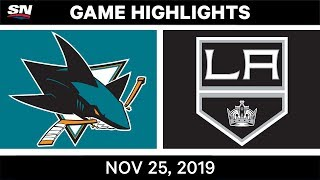 NHL Highlights   Sharks vs Kings – Nov. 25, 2019
