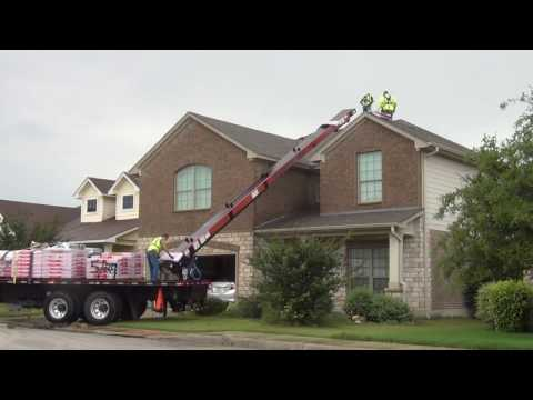Loading Shingles on Roof | Dropping Packages of Shingles
