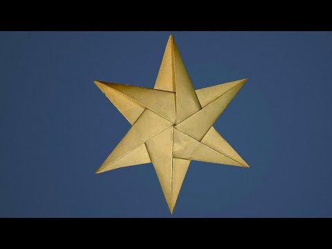 How to make a Easy Origami Christmas star- 3D Paper star 6 point. Ideas for Christmas decorations