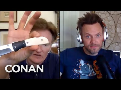 Joel McHale Likes To Gift Conan With Brass Knuckles & Knives - CONAN on TBS