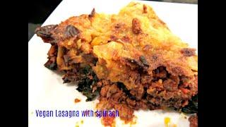 Vegan lasagna with spinach