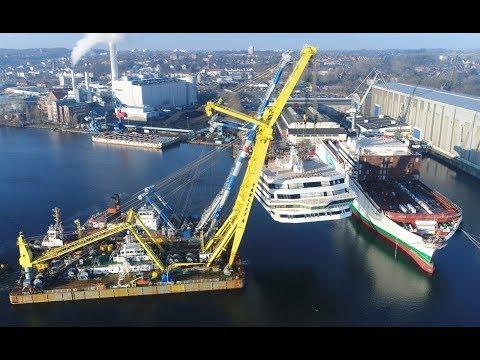 Spektakuläres Aufsetzen der Decksaufbauten auf den Irish Ferries Neubau W.B.YEATS   FSG Flensburg