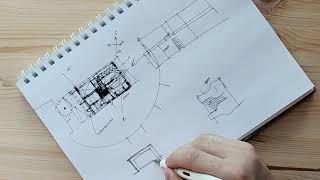 Эскиз планировки небольшого дома. Поиск планировочного решение. Эскиз от руки