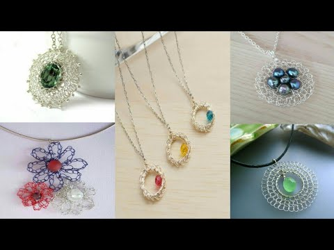 DIY wire crochet pendent – hand made Sterling Silver and gold necklace ideas