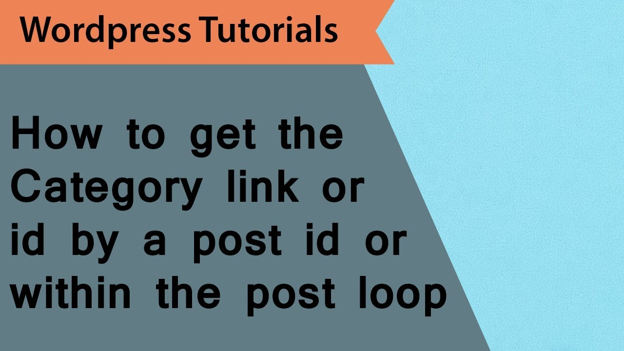 How to get the category id and link in wordpress post page