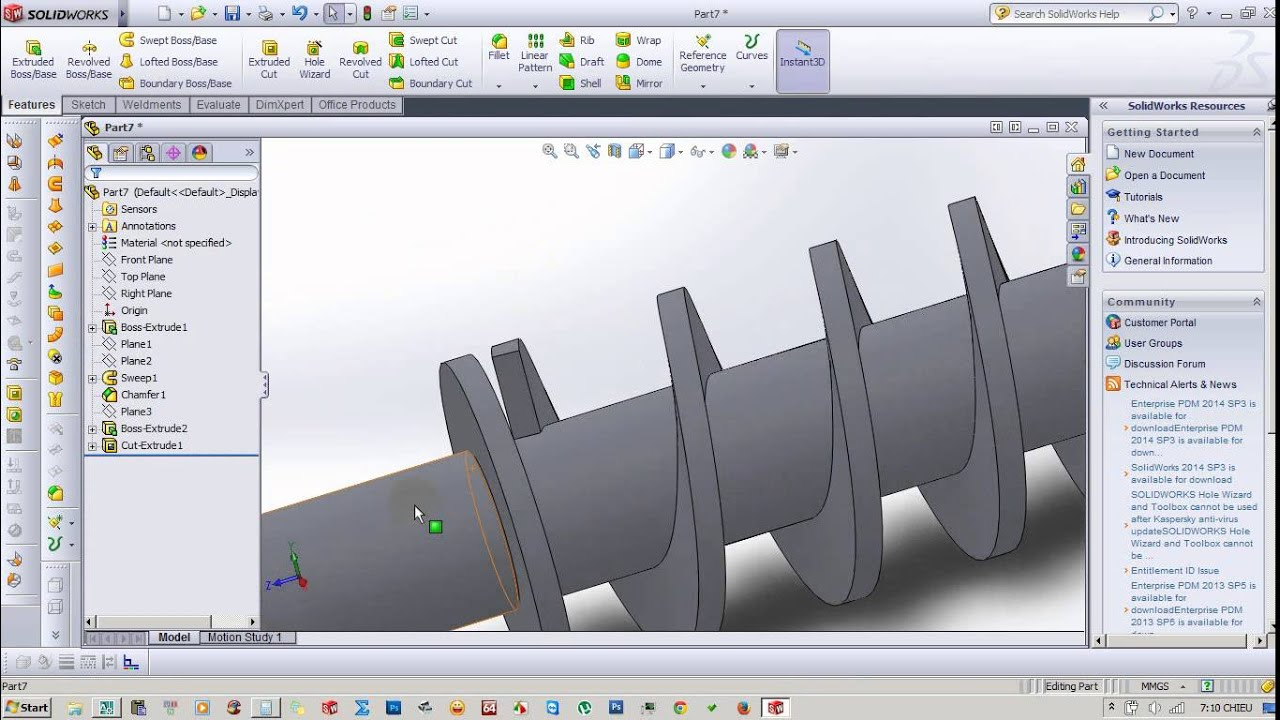 Screw Shaft In Solidworks – SolidWorks Tutorials