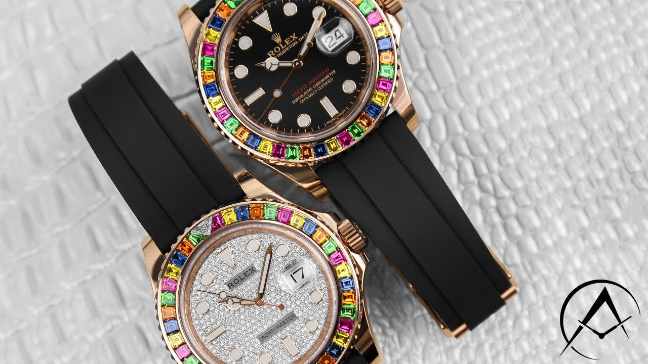 0f1e7b7bf23 Rolex Yacht-Master 116695 Rainbow 40mm 18k Rose Gold Men's Watches ...